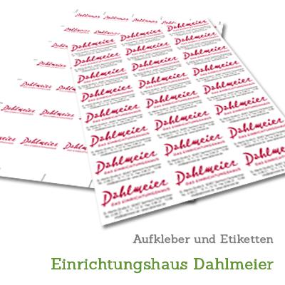 Aufkleber und Etiketten für Einrichtungshaus Dahlmeier